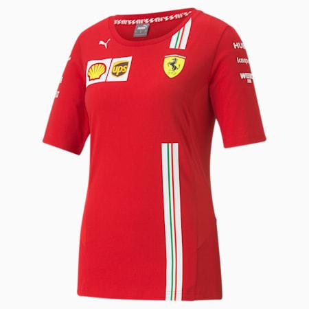 T-Shirt Scuderia Ferrari Team pour femme, Rosso Corsa, small