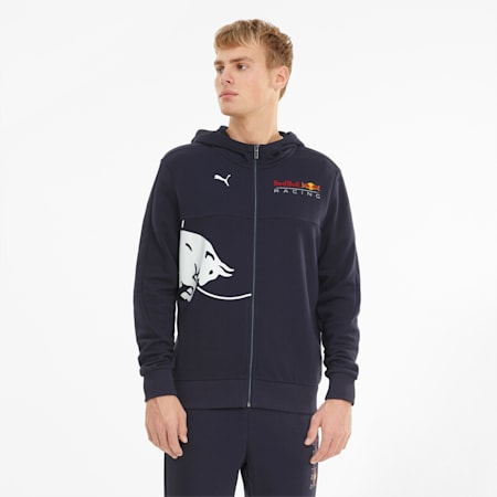 Red Bull Racing Hooded Men's Sweat Jacket, NIGHT SKY, small