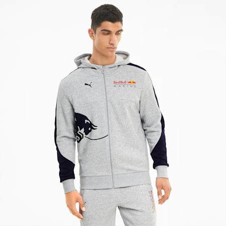 Red Bull Racing Hooded Men's Sweat Jacket, Light Gray Heather, small