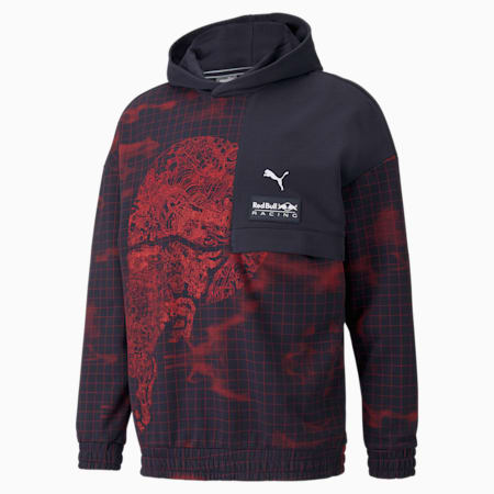 Red Bull Racing AOP Relaxed Fit Men's Loose Hoodie, NIGHT SKY, small-IND
