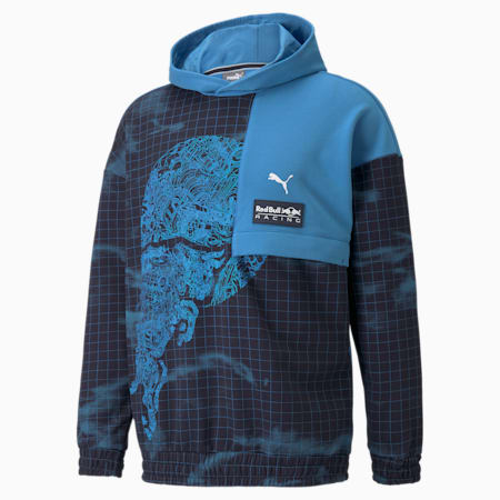 Red Bull Racing AOP Relaxed Fit Men's Loose Hoodie, Bleu Azur, small-IND
