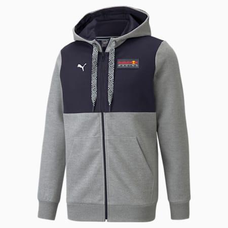 Męska bluza z kapturem i zamkiem na całej długości Red Bull Racing, Medium Gray Heather, small