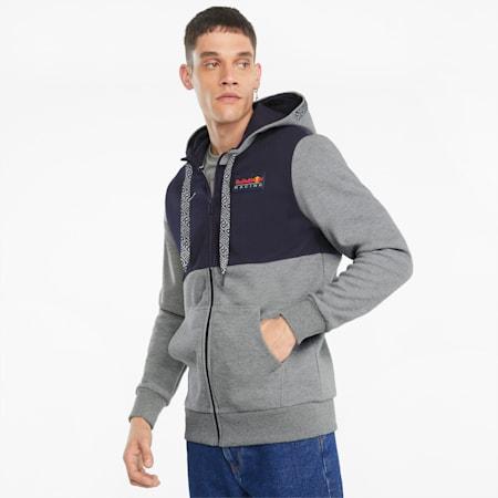 Sudadera con capucha y cremallera completa para hombre Red Bull Racing, Medium Gray Heather, small