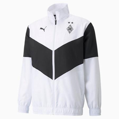BMG Prematch Men's Football Jacket, Puma White-Puma Black, small