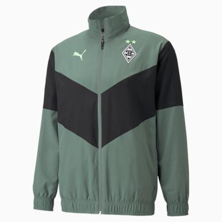 BMG Prematch Men's Football Jacket, Laurel Wreath-Puma Black-Elektro Green, small