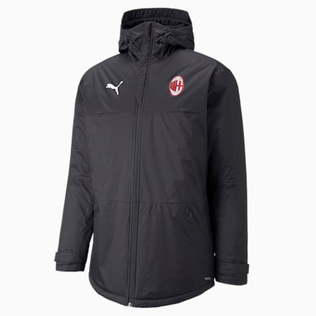 ACM Training 3/4 Men's Winter Football Jacket, Puma Black-Tango Red, small-GBR