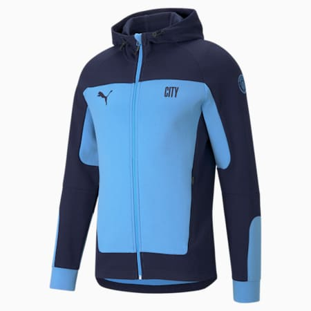 Man City Evostripe Hooded Men's Football Jacket, Team Light Blue-Peacoat, small