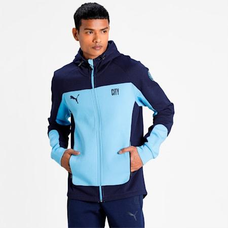 Man City Evostripe Hooded Men's Football Jacket, Team Light Blue-Peacoat, small-IND