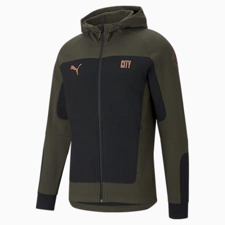 Man City Evostripe Hooded Men's Football Jacket, Cotton Black-Forest Night, small