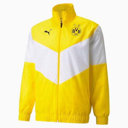 Chaqueta de fútbol de precalentamientoPUMA x First Mile BVBpara hombre, Cyber Yellow, pequeño
