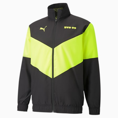 Chaqueta de fútbol de precalentamientoPUMA x First Mile BVBpara hombre, Puma Black-Safety Yellow, pequeño