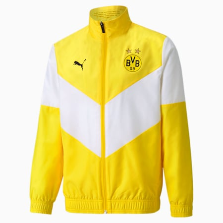 BVB Prematch Youth Football Jacket, Cyber Yellow, small