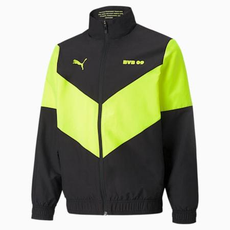 BVB Prematch Youth Football Jacket, Puma Black-Safety Yellow, small