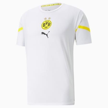 Camiseta PUMA x First Mile BVB Prematchpara hombre, Puma White-Cyber Yellow, pequeño