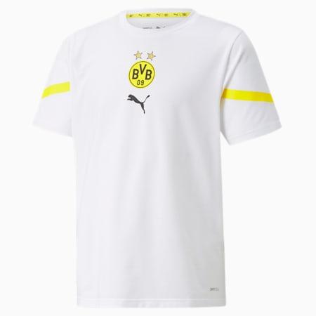 Młodzieżowa koszulka PUMA x First Mile BVB Prematch, Puma White-Cyber Yellow, small
