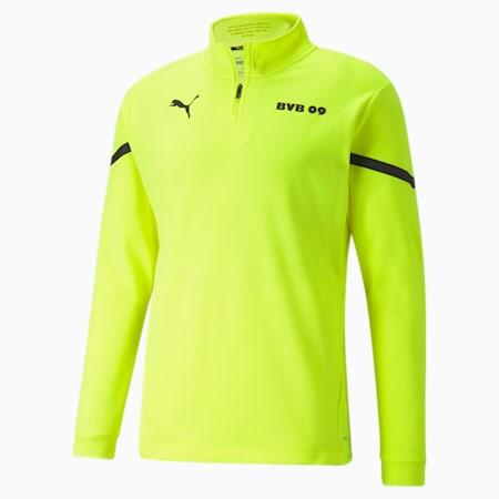 BVB Prematch Men's 1/4 Zip Performance T-Shirt, Safety Yellow-Puma Black, small-IND