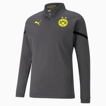 BVB Prematch Men's 1/4 Zip Performance T-Shirt, Asphalt, small-IND