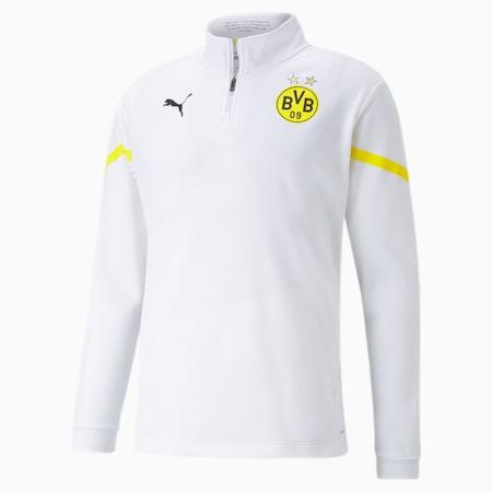 PUMA x FIRST MILE BVB Prematch Fußballoberteil mit kurzem Reißverschluss für Herren, Puma White-Cyber Yellow, small