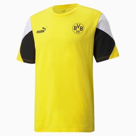 Męska koszulka piłkarska BVB FtblCulture, Cyber Yellow-Puma Black, small