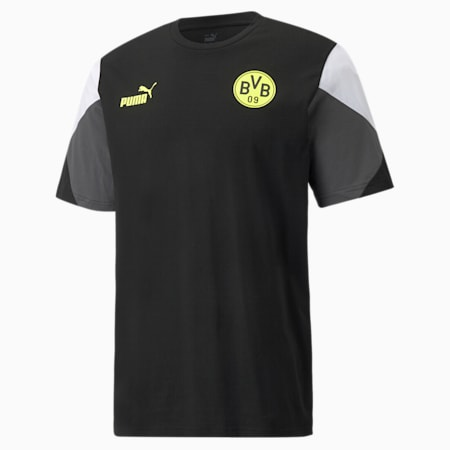 BVB ftblCulture Men's T-Shirt, Puma Black-Safety Yellow, small-IND