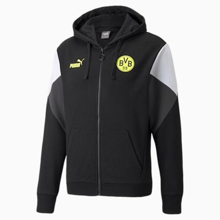 Felpa da calcio con cappuccio e zip integrale BVB FtblCulture uomo, Puma Black-Safety Yellow, small