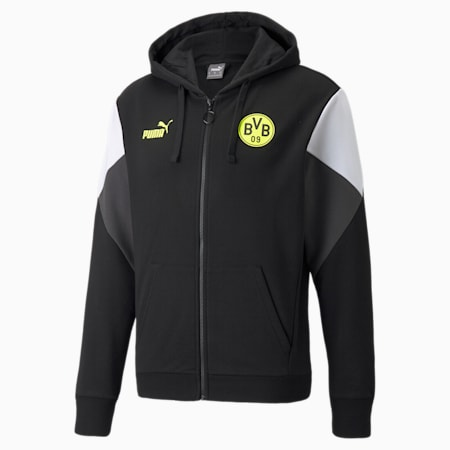 BVB FtblCulture Full-Zip Men's Football Hoodie, Puma Black-Safety Yellow, small-GBR