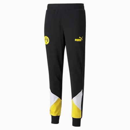 BVB FtblCulture Men's Track Football Pants, Puma Black-Cyber Yellow, small