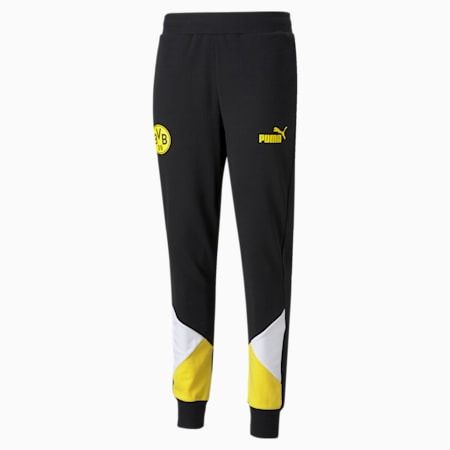 BVB ftblCulture Men's Track Pants, Puma Black-Cyber Yellow, small-IND
