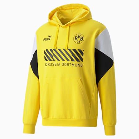 Felpa da calcio con cappuccio BVB FtblCulture uomo, Cyber Yellow-Puma Black, small