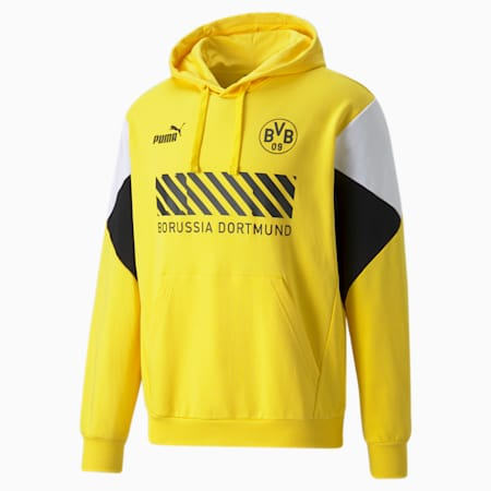 Sudadera de fútbol con capucha para hombre BVB FtblCulture, Cyber Yellow-Puma Black, small