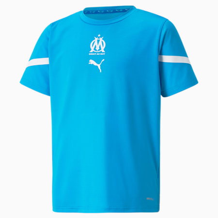 Camiseta juvenil OM Prematch, Bleu Azur-Puma White, small