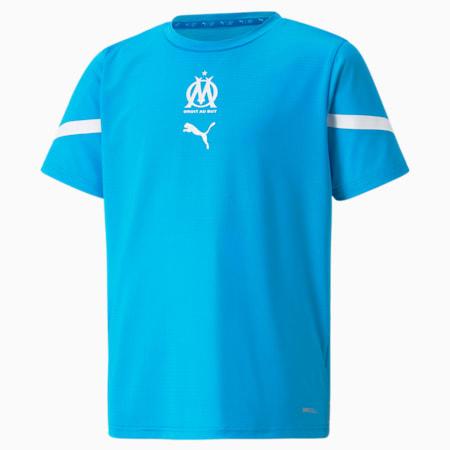 Maillot avant-match OM enfant et adolescent, Bleu Azur-Puma White, small
