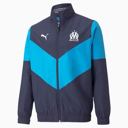 OM Prematch Youth Football Jacket, Peacoat-Bleu Azur, small