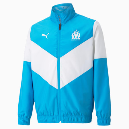 Młodzieżowa kurtka piłkarska OM Prematch, Bleu Azur-Puma White, small