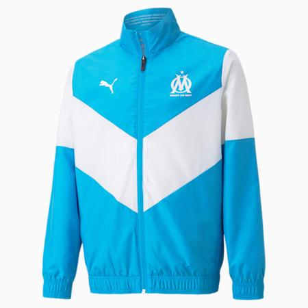 OM Prematch Youth Football Jacket, Bleu Azur-Puma White, small