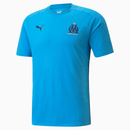T-shirt de football OM Casuals Homme, Bleu Azur-Dark Denim, small