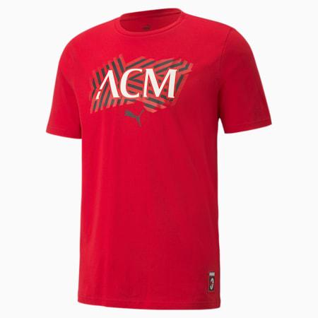 AC Milan Football Core Men's T-Shirt, Tango Red -Puma Black, small-IND