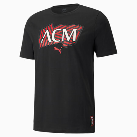 AC Milan Football Core Men's T-Shirt, Puma Black-Tango Red, small-IND