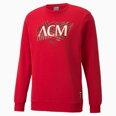 AC Milan Football Core Men's Knitted Sweat Shirt, Tango Red -Puma Black, small-IND