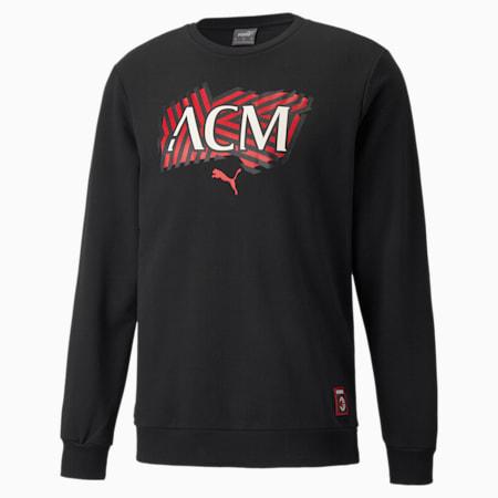 AC Milan Football Core Men's Knitted Sweat Shirt, Puma Black-Tango Red, small-IND