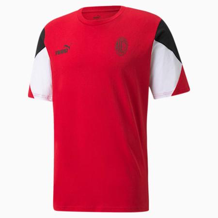 AC Milan FtblCulture Men's Football Tee, Tango Red -Puma Black, small-GBR