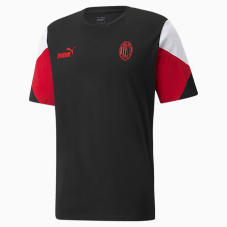 T-shirt de football ACM FtblCulture homme, Puma Black-Tango Red, small