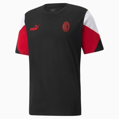 T-shirt da calcio ACM FtblCulture uomo, Puma Black-Tango Red, small