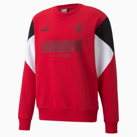 AC Milan Football Culture Men's Sweat Shirt, Tango Red -Puma Black, small-IND