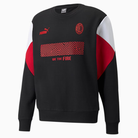 AC Milan Football Culture Men's Sweat Shirt, Puma Black-Tango Red, small-IND