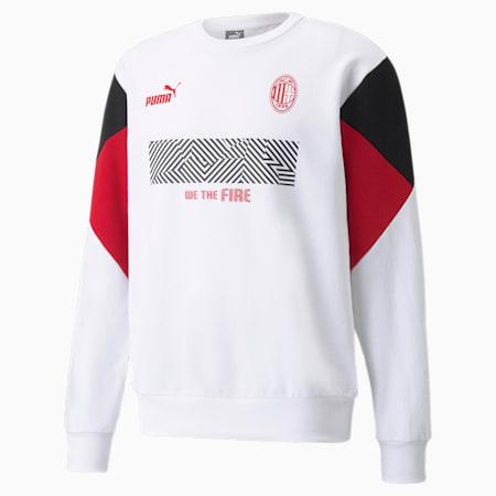 AC Milan Football Culture Men's Sweat Shirt, Puma White-Tango Red, small-IND