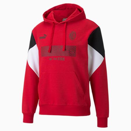 AC Milan FtblCulture Men's Football Hoodie, Tango Red -Puma Black, small