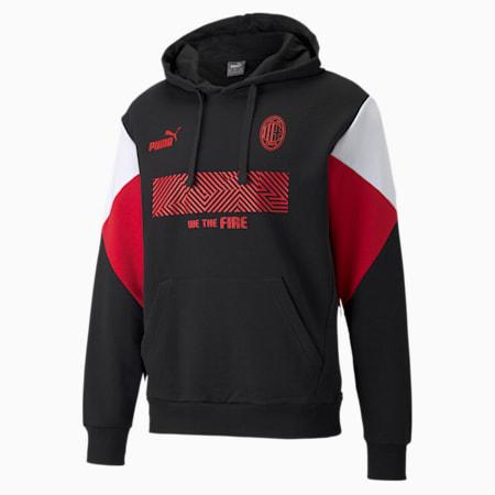 AC Milan FtblCulture Men's Football Hoodie, Puma Black-Tango Red, small