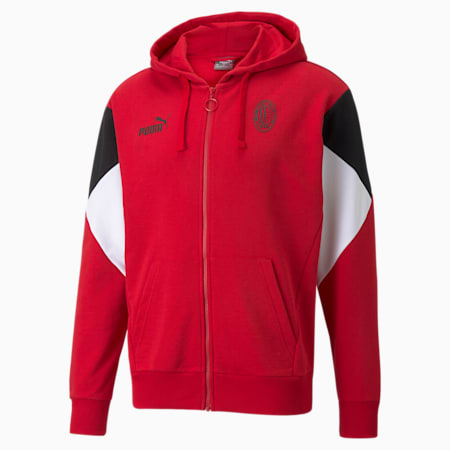 ACM FtblCulture Fußball-Hoodie mit durchgehendem Reißverschluss für Herren, Tango Red -Puma Black, small