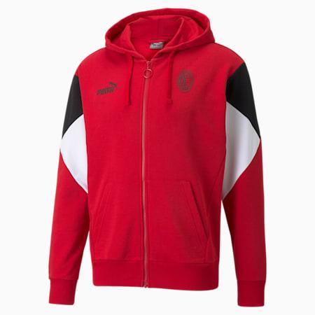 AC Milan FtblCulture Full-Zip Men's Football Hoodie, Tango Red -Puma Black, small-GBR